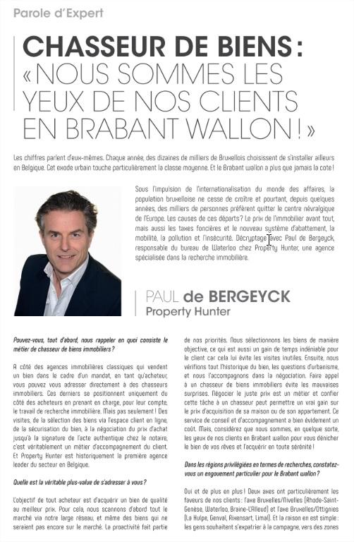 Parole d'Expert - Chasseur de biens : «Nous sommes les yeux de nos clients en Brabant Wallon !»
